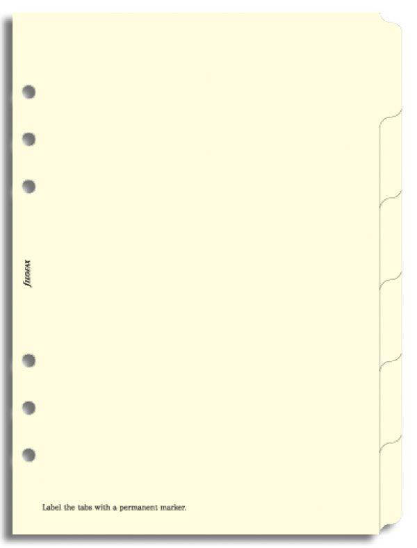 Filofax A5 - Blank Index Tabs, 6 Tabs