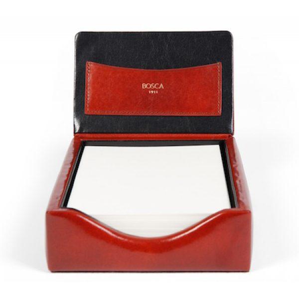 Bosca Old Leather Classic Flip Top Memo Box - Amber
