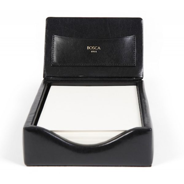 Old Leather Classic Flip Top Memo Box - Black