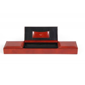 Old Leather Classic 3 Compartment Desk Organizer - Amber
