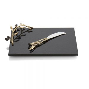 Michael Aram Olive Branch Gold Cheese Board w/ Knife