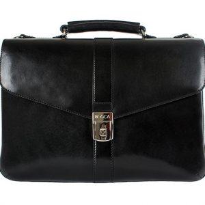 Bosca Old Leather Flapover Brief Black