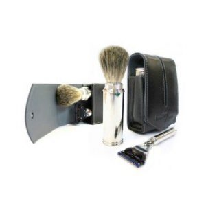 Edwin Jagger Black Leather Fusion Travel Shaving Kit
