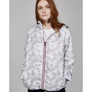 Ladies Full Zip Packable Rain Jacket - White Camo