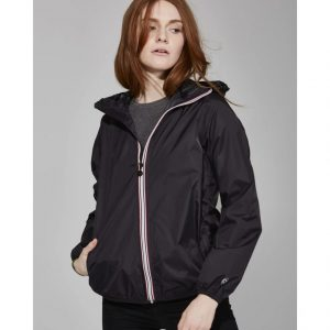 Ladies Full Zip Packable Rain Jacket - Black