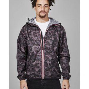 Mens Full Zip Packable Rain Jacket - Black Camo