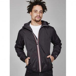 Mens Full Zip Packable Rain Jacket - Black