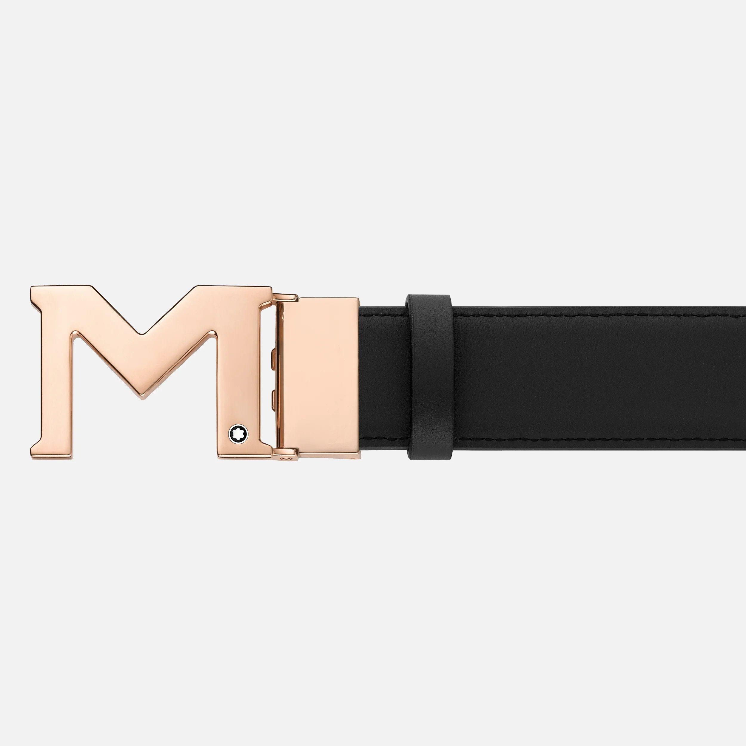 M buckle black blue 35 mm reversible leather belt