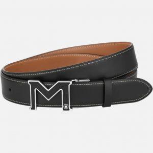 Montblanc M buckle black/tan 35 mm reversible leather belt
